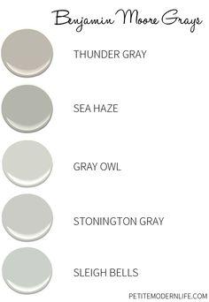 Favorite Benjamin Moore Grays with different under tones.