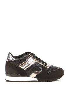 TOMMY HILFIGER - Sneakers - Donna - Sneaker in eco pelle laminata e tessuto lavorato con suola in gomma. Tacco 65, platform 15 con battuta 50. - BLACK\PLATINO