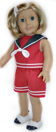 RED COTTON SHORTS American Girl 18 inch doll