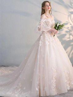 A- line Princess Sweetheart Neck Strapless Bridal Dresses ASD27176c #champagneweddingdress