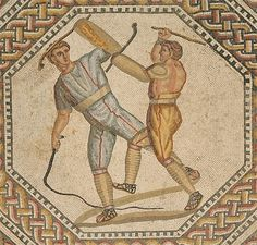 Roman Mosaic. Two Combatants. Nennig Villa. Perl-Nennig, Germany    #mosaic