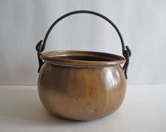 Antique Primitive Copper Cauldron Pot Kettle Hand Hammered Forged Iron Handle | eBay