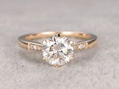 1ct brilliant Moissanite Engagement ring Yellow by popRing on Etsy