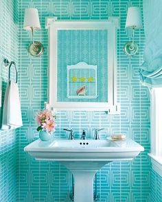 Bathroom in a color filled beach house by Mona Ross Berman