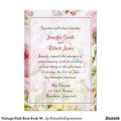 Vintage Pink Rose Posh Wedding Invitation