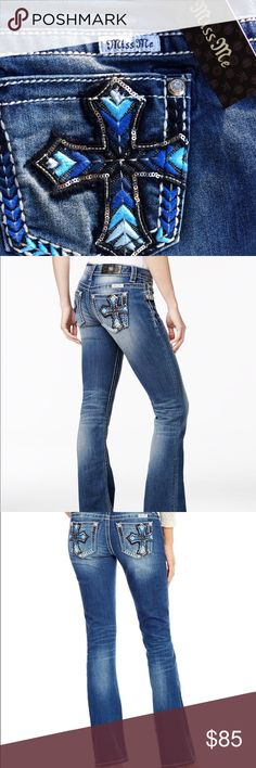 NWT Miss Me Rare Blue Cross Stitched Jeans NWT Miss Me Rare Blue Cross Stitched Jeans. These jeans are sold out almost everywhere. 26x34 Miss Me Jeans Boot Cut