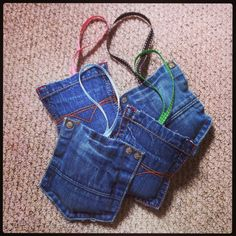 Lavender bags made from old jean pockets, so simple, cut pocket from jeans, stuff with lavender, hand sew top edge, add a loop of ribbon half way along, perfect for smelly boys rooms!