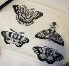 Black-ink old school moth tattoo design ...