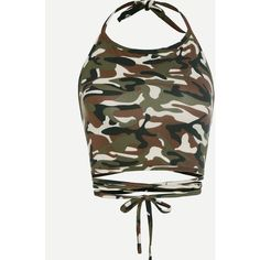 Camo Print Crisscross Tie Detail Crop Halter Top ($4.99) ❤ liked on Polyvore featuring tops, army green, halter-neck crop tops, camo crop top, criss cross crop top, white crop top and camo vest