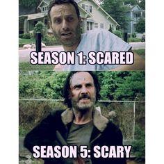 TWD. The Walking Dead. Evolution of Rick Grimes. Scared to Scary!! Season 1. Season 5.