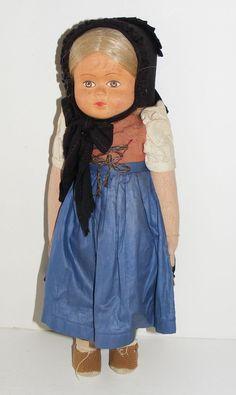 "Vintage ~ Liebenauer Spielzeug Puppen 15"" Tall European Doll ""Puppe""  ~ w/ Tag"