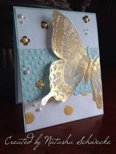 handmade card ... Golden Swallowtail ... gorgeous butterfly embossed in gold on vellum ... large dot embossed panel ... golden dots ... Stampin'Up!