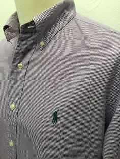 Polo #RalphLauren #Mens #Shirt Large Custom Fit Purple White #Gingham Checked #menswear #mensfashion #mensstyle