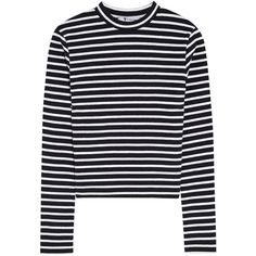 T by Alexander Wang Cropped striped stretch-cotton top (17.615 HUF) ❤ liked on Polyvore featuring tops, shirts, sweaters, clothes - tops, midnight blue, stripe top, stripe shirt, crop top, striped crop top and black crop top