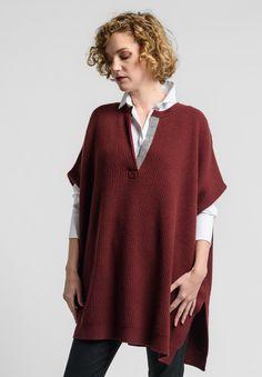 Brunello+Cucinelli+Embellished+Split+Neck+Oversize+Sweater+Vest+in+Merlot