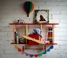Handmade biplane shelf makes a kids' room feel more special | upwarsaw on Etsy
