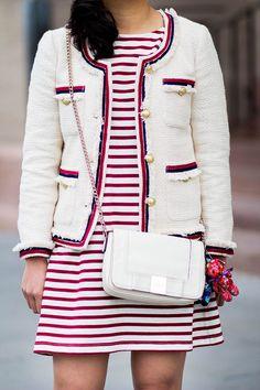 Tweed Jacket and Striped Dress