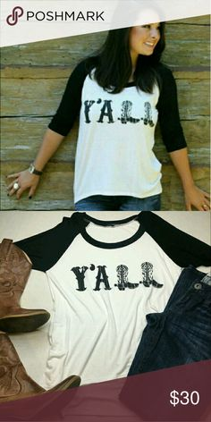 "Y'All Country Raglan Baseball Tee 3/4 Sleeve Loose Super cute top!! It says ""Y'ALL"" with the L's written in cowboy boots! Basell/raglan style shirt in black and white. Still new in the package. Brand: Papermoon. Size small (oversized). Length: 17"". 95% rayon, 5% spandex.   Smoke free home. I will gladly bundle items to give you a discount (the more you buy, the cheaper I can let everything go!). Many items can be added on for only $1.  MAKE AN OFFER! papermoon Tops Blouses"