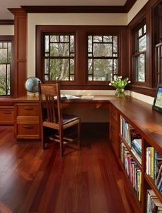 Love this use of space on walls while maintaining natural light with windows...also love window seat to the left