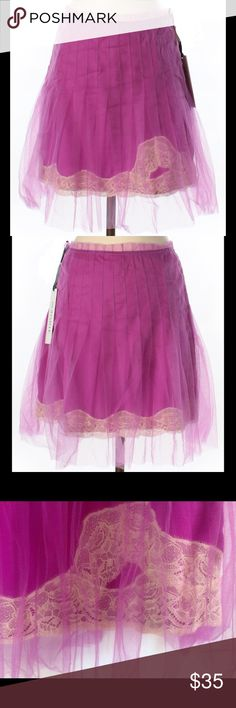 """💕 RODARTE for Target pink tulle skirt NEW From the sold out limited edition Rodarte for Targèt ready-to-wear collaboration collection """"without the runway prices"""" ♡ from Timeline Boutique ♡   size 5 in JUNIORS sizing  27"""" waist = size 4 women's  19"""" length concealed size zipper pink / fucshia + cream color  A-Line silhouette pleated accent top layer of tulle + lace detail 100% nylon  base skirt 100% polyester NEW with tags 💕 This would look great with a plain white tank top and flats…"""