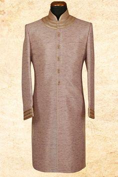#Beige majestic #silk sherwani with bandhgala-IW629
