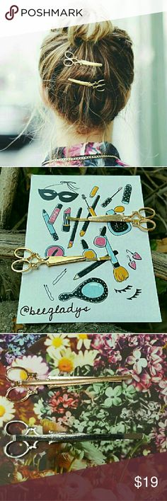 Scissor Bobby Pin Set x Check Closet for more. x 2 Pieces per order. x New. x Use offer button. x Gold Tone OR Silver Tone Accessories Hair Accessories