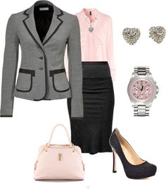 """""""Business Meeting"""". Love the pink and gray. The skirt is too form fitting for me, but the color combination is a good idea."""