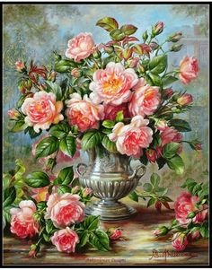 English Elegance Roses in a Silver Vase - Counted Cross Stitch Patterns