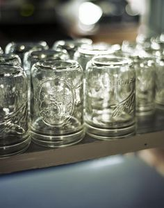 Canning jars from the hardware store used for drinking glasses