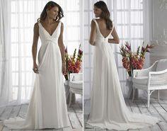 Brautkleid  lang fließend, schöner Rückenausschnitt