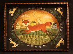 Primitive Folk Art Hand Painted Wooden Tray  Running by Ravensbend, $35.00
