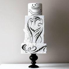 unusual wedding cakes I think this ia absolutely amazing! The Most Elegant and Unusual Wedding Cakes Unusual Wedding Cakes, White Wedding Cakes, Cool Wedding Cakes, Beautiful Wedding Cakes, Gorgeous Cakes, Pretty Cakes, Amazing Cakes, Elegant Cake Design, Black White Cakes