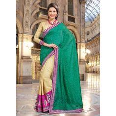 ISHIN Cotton nylon with cotton viscose pallu Green-Yellow Saree DPDL-1409