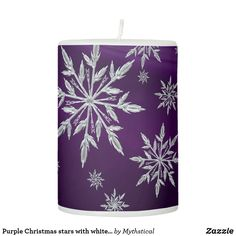 Shop Purple Christmas stars with white ice crystal Pillar Candle created by Mythstical. Christmas Stars, Christmas Poinsettia, Purple Christmas, Christmas Holidays, Ice Crystals, Pillar Candles, Snowflakes, Nice, Home Decor