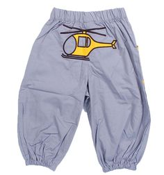 grey baggy trousers with helicopter designs
