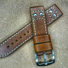Mens watch strap Antique Brown vegetable tanned leather Flieger/Aviator style custom handmade stitched 22mm 24mm 26mm