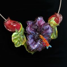 Glass Hibiscus Set for Wedding Jewelry - Purple/Pink Hibiscus Glass Lampwork Bead Flower & Rose Buds by Patsy Evins