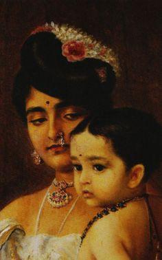 Vintage India - Mother and child - Raja Ravi Varma - Ravivarma Paintings, Indian Art Paintings, Traditional Paintings, Traditional Art, Raja Ravi Varma, Indian Artwork, India Painting, Vintage India, Art Corner