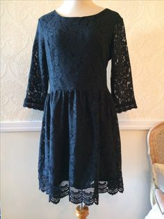 Paper Doll long sleeve pretty black lace dress ~ size large • $40.00 + shipping.