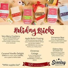 Bricks are back for a limited time! Get yours at https://cgqualls.scentsy.us