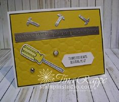 Stampin' Up!,Nailed It stamp set, Build It Framelits Die, Hexagon Dynamic embossing Folder