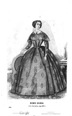 1860 Godey's. Home dress of printed mousseline de laine [lightweight wool] in fawn with blue figures and trimmings.