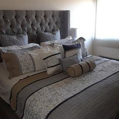 Sorinella Queen Upholstered Bed | Ashley Furniture HomeStore Grey Headboard, Bedroom Art Above Bed, Bedroom Decor, Master Bedroom, Bedroom Ideas, Luxury Bedding, Modern Bedding, Toddler Girl Bedding Sets