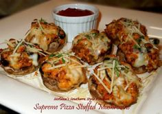 pizza stuffed mushrooms Chrissie might like these...