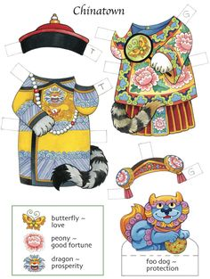 Lucky cats, Chinese outfits