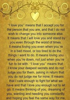 Lessons Learned in LifeWhat I love you means. - Lessons Learned in Life Inspirational Quotes About Love, Best Love Quotes, Me Quotes, Qoutes, Dark Love Quotes, Brush Letters, Love Letters, I Love You Means, I Will Love You
