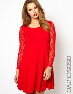 ASOS CURVE Exclusive Swing Dress With Lace Sleeves, size 18-28