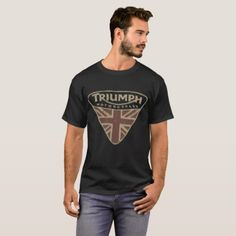 Nwt Lucky Brand Triumph Motorcycle Uk Flag Badge L T-Shirt - baby gifts child new born gift idea diy cyo special unique design
