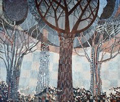 """Bill Lowe Gallery Daniel Blignaut """"Song of Africa"""" acrylic on wood panel, 84x96 inches #lowelook #trees #earthtones"""