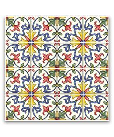 Take a look at this Yellow & Blue Floral Peel & Stick Tile - Set of Four today!